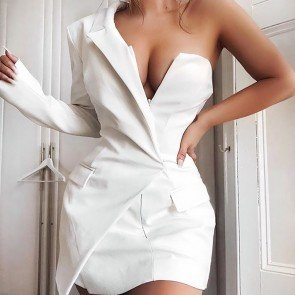 Deep V Neck One Shoulder Irregular Blazer Dress