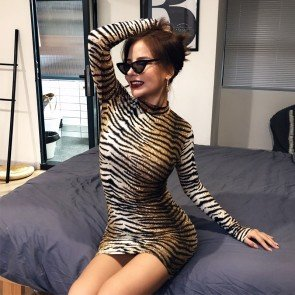 Long Sleeve Evening Party Tiger Print Mini Dress
