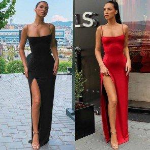 Split Hem Fitted Spaghetti Strap Maxi Dress