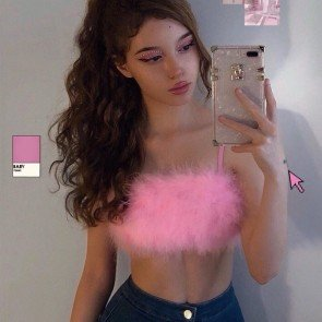 Faux Fur Spaghetti Strap Crop Top