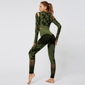Camouflage long sleeve 2 piece set sport yoga suit