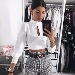 Long Sleeve Crop Top T-Shirt Crew Neck Slim Fit Blouse