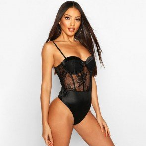 Stretch Lace Cupped Bodysuit