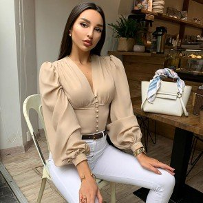 V-Neck Solid Lantern Sleeve Casual Blouse