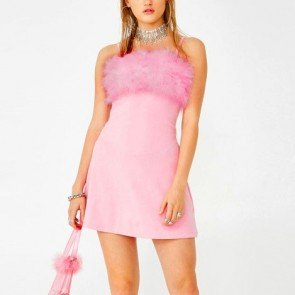 Pink Fuzzy Fur Mini Dress