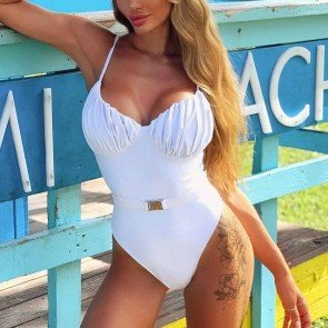 White Ruched Detail One Piece Swimsuit with Belt