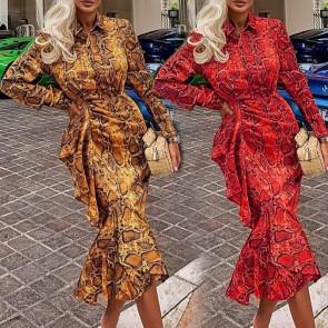 Long Sleeve Printed Fishtail Dress
