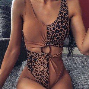 Leopard Ring Linked One Piece Swimwear