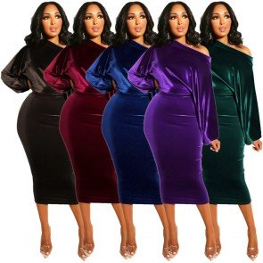 Off Shoulder Midi Dress Velvet Bodycon Pencil Dress