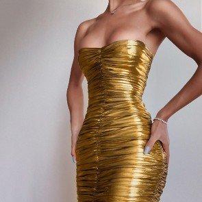 METALLIC GOLD STRAPLESS DRESS