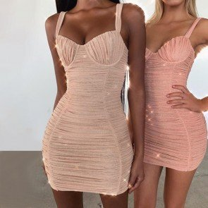 Sexy Sling Silver Line Slim Sleeveless Dress