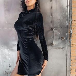 Deep V Neck Sexy Club Wear Bodycon Casual Mini Dress