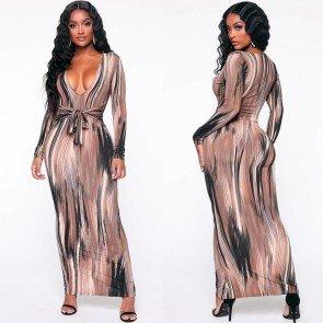 Stripe Painting V-Neck Tied Waist Maxi Bodycon Dress