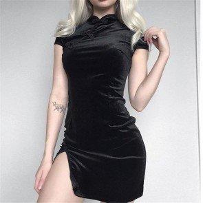 Chinese Cheongsam Bodycon Vintage Split Black Dress
