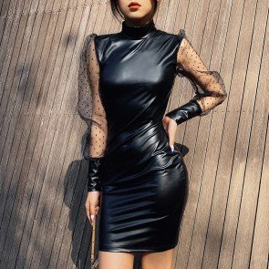 High Neck Mesh Sleeve Faux Leather Dress
