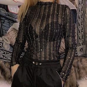 Glitter Stars Sheer Mesh Slim Bodysuit