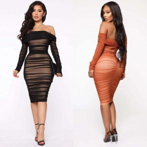 Off-shoulder Ruched Solid Bodycon Dress