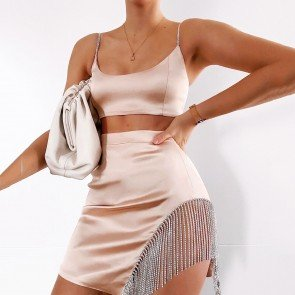 Satin Top Fringe Tassel Crystal Drip Skirt Set