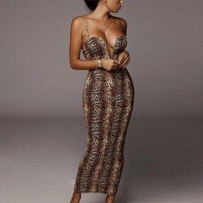 Sexy Snake Print V-Bar Strappy Bodycon Dress