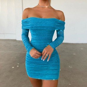 Pleated Bright Off Shoulder Sparkly Banquet Party Dress