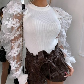 Chic Lace Panel Crew Neck Puff Sleeve Blouse