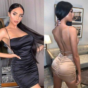 Satin Sexy Straps Ruched Mini Dress
