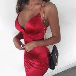 Spaghetti Strap Knee Length High Waist Pencil Dress
