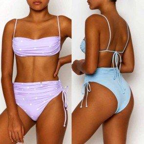 Sexy Spaghetti Straps Drawstring Bikini Swimsuit