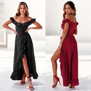 Boho Off Shoulder Dress Irregular Hem Ruffled Sundress