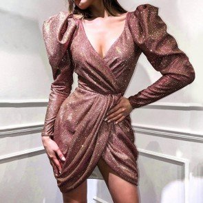 V-neck Puff Sleeve Bodycon Ruched Mini Glitter Dress