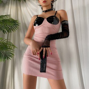 Sexy Vinyl Black Bra Patchwork Knitted Pink Dress
