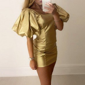 Above Knee Square Neck Pleated Short Sleeve Dress
