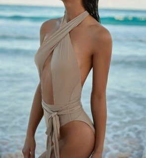 Cross neck one-piece swimsuit open front & backless
