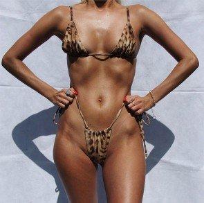 Triangles Leopard Print Bandage Split Bikini Swimsuit
