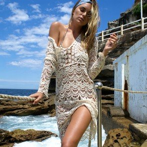 Women Lace Long Sleeve Beach Cover Up Cape Top Blouse