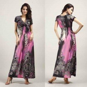 Bohemia Leopard Print Short Sleeve V Neck Maxi Dress