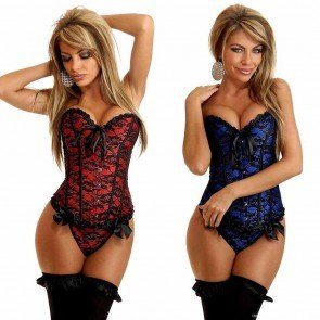 Sexy Women Lingerie Floral Lace Up Overbust Corsets