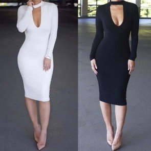 Long sleeve V-neck Bandage Bodycon Party Casual Dress