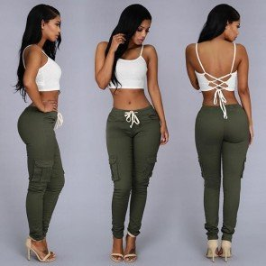 Sport Pants Waist Drawstring Pocket Casual High Waist