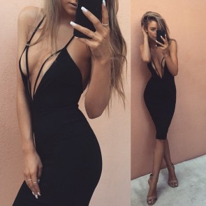 Lady's Bandage Dresses Sexy Strapless Halter Mini Dress