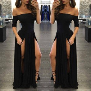 Elegant Off Shoulder Slit Maxi Bandage Evening Dress