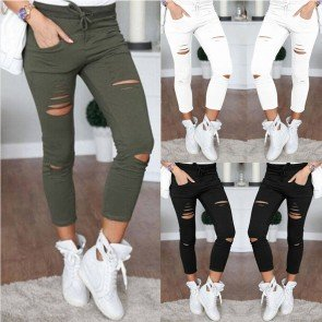 Women Ripped Capri-pants Pencil High Waist Pants