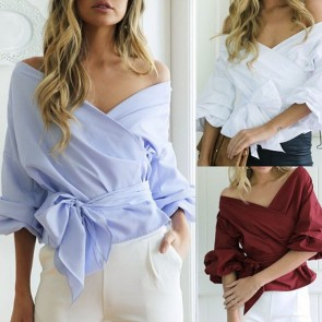 Off-the-Shoulder Wrap Belted Blouse Long Puff Sleeves