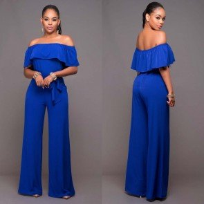Wide Leg Casual Ruffle Offer Shoulder Loose Jumpsuits