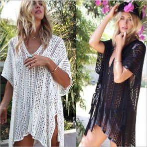 Knit Bikini Swimwear Cover up Crochet Beach Mini Dress