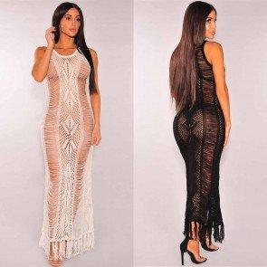 Knit Beach Wear Cover up Swimwear Hollow Long Dress