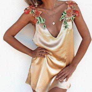 Sexy Satin Sleepcoat Deep V-Neck Embroid Nightgown