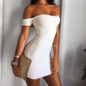 Summer Sexy Short Sleeve Off Shoulder Casual Mini Dress