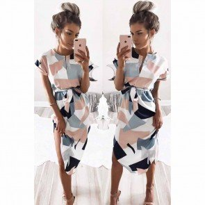Characteristic Pattern Printed Irregular Slit Dress