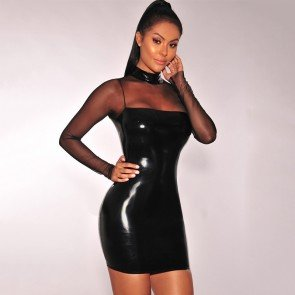 Bodycon Evening Cocktail Sheer Sleeve Latex Mini Dress